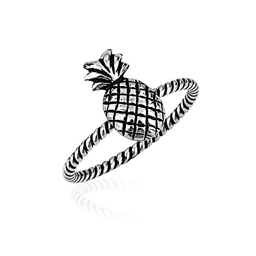 Chuvora 925 Sterling Silver Single Simple Pineapple Fruit Shiny Polished Rope Style Thin Band Ring, Size 9 ()