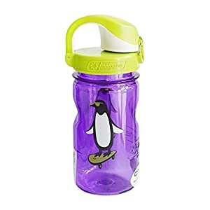 Nalgene Kids Penguin OTF Bottle, 12 oz, Purple/Gray