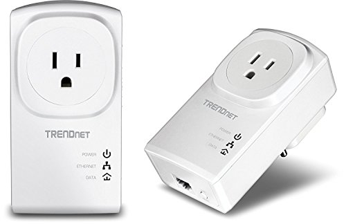 TRENDnet Powerline 500 AV Nano Adapter Kit with Built-In Outlet, With Power Outlet Pass-Through, Includes 2 x TPL-407E Adapters, TPL-407E2K (Certified Refurbished) (Ac Powerline)