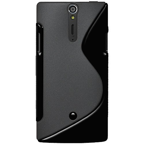 meet 2b32a 1d5a1 Amzer AMZ95152 Dual Tone TPU Hybrid Skin Fit Case Cover for Sony Xperia S  LT26i - 1 Pack - Retail Packaging - Black