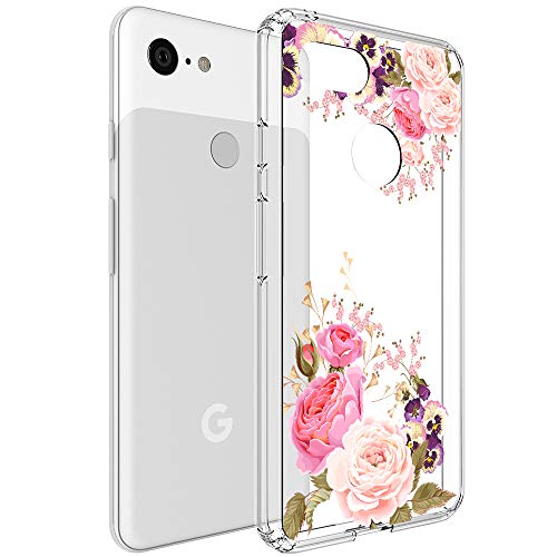(Google Pixel 3 Case, Vinve [Crystal Clear] Anti-Scratch Shockproof Cover Clear Hard Back Panel + TPU Bumper Slim Case for Google Pixel 3 (Peony))