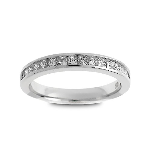 (14K White Gold 1/2ct TDW Princess-Cut Diamond Halfway Wedding Band (G-H, SI1-SI2))