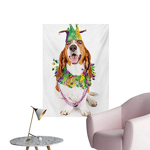 Anzhutwelve Mardi Gras Art Decor Decals Stickers Happy Smiling Basset Hound Dog Wearing a Jester Hat Neck Garland Bead NecklaceMulticolor W32 xL48 Poster Paper