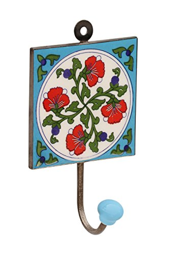 SUPER SALE – Flash Sale – Wall Hooks – SouvNear Wall Mounted Single Hook 6.2 Inch Flower Design Handmade Ceramic Iron Blue Hooks for Coat Hat Umbrella…