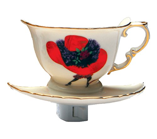 Green Pastures Wholesale Red Hat Lady Teacup Porcelain Night Light, 6-Inch by 5-Inch by 6-Inch