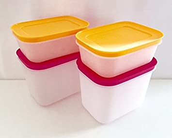 TUPPERWARE Gefrier-Behälter 450 ml weiß-pink 3 Behälter Kristall Eiskristall