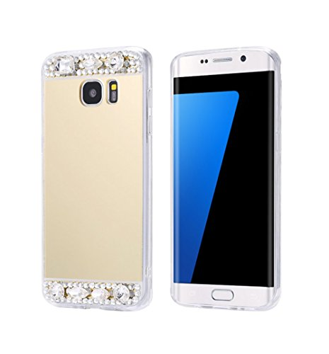 For Galaxy S6 edge+ Plus Case ,JANDM Diamond Hybrid Glitter Bling Soft Shiny Sparkling with Glass Mirror Back Cover Case for SAMSUNG Galaxy S6 edge+ Plus (Gold)