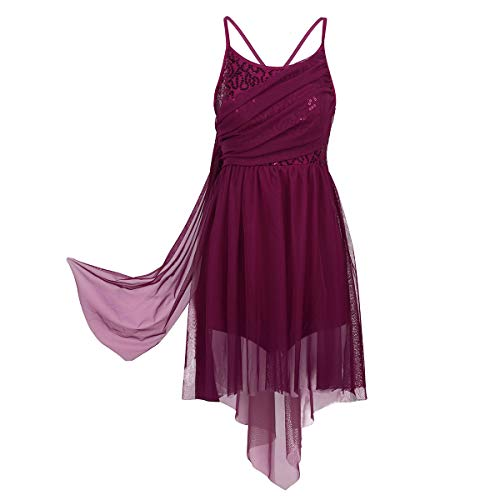 Agoky Womens Adult Sequined Leotard Lyrical Ballet Dance Dress High Low Skirt Criss Cross Back Dance Costume Wine Red Medium ()