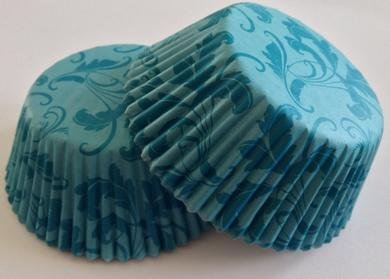 - 50 count Damask Floral Flower Liners Cupcake Liners Liner for Standard Size Cupcakes (Blue)