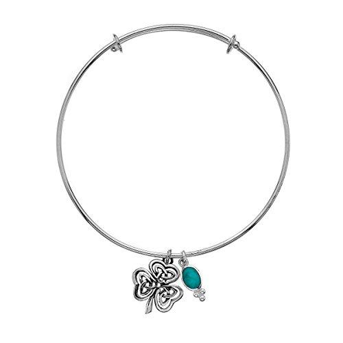 Trèfle celtique en argent 925 Turquoise Bracelet à breloques