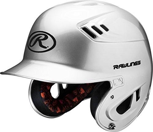 Helmet Metallic - Rawlings R16 Series Metallic Batting Helmet, White, Junior