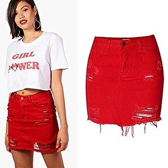 GYYWAN Faldas De Mezclilla De Cintura Alta para Mujer Mini Lápiz ...