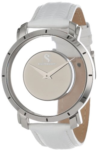 Steinhausen Men's 'Atlantis' Quartz Stainless Steel and Leather Casual Watch, Color:White (Model: TW1201SSW)