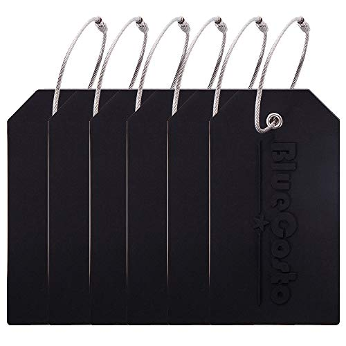 BlueCosto 6 Pack Luggage Tags Suitcase Tag Travel Bag Labels w/Privacy Cover - Black