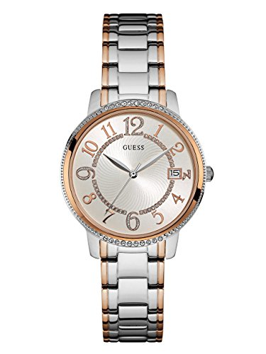 GUESS Women's Stainless Steel Two-Tone Casual Watch, Color: Silver/Rose Gold (Model: (2 Tone Rose)