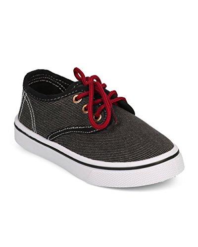 Denim Mix Media Round Toe Classic Lace up Sneaker (Toddler/Little Boy/Big Boy) DG56 - Black (Size: Little Kid (Big Kid Jelly Bean)