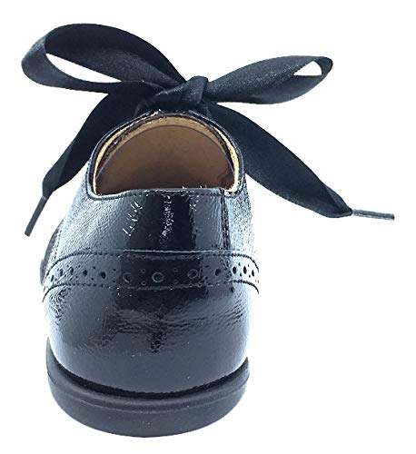 Andanines Kid's Ribbon Tie Oxford (Black Patent/Black Poni, 32 M EU/1.5 M US Little Kid)