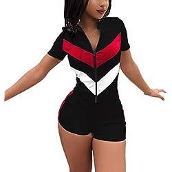 Women Sexy Sportwear Set for Women Short Sleeve Crop Tops and Color Stripe Skinny Jumpsuit Tracksuit Set