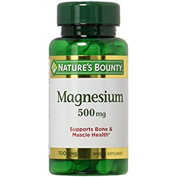Nature's Bounty High Potency Magnesium 500mg, 200 Tablets (2 X 100 Count Bottles)