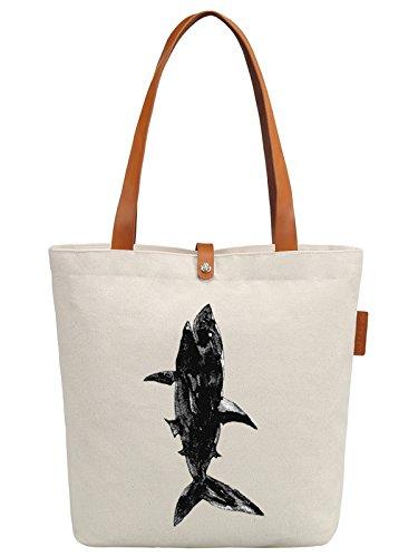 So'each Women's Sea Ink Shark Graphic Top Handle Canvas Tote Shoulder Bag