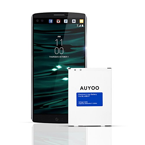 LG V10 Battery AUYOO 3000mAh Replacement Battery for LG V10 BL-45B1F H960A,Verizon VS990, AT&T H900,T-Mobile H901,Sprint LS992, V10 Li-ion Battery. (T-mobile Cell Batteries Phone)