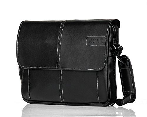 Solier Messenger S15 Office Men's Bag Shoulder Man Handbag Black HHxwFZqAn