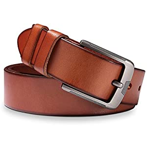 Mens Leather Belt, BESTKEE 100% Full Grain Real Leather with Anti-Scratch Pin Buckle, Great for Jeans, Casual, Cowboy & Business Work