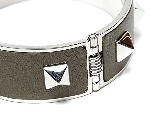 Wiberlux Valentino Women's Silver Stud Detail Steel Cuff Bracelet One Size Olive by Wiberlux (Image #3)