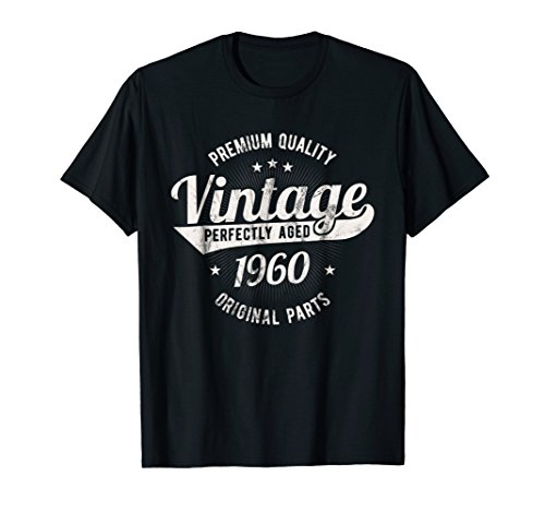 1960's Clothing (Vintage Est 1960 T-Shirt 58 Years Old 58th Birthday Gift)
