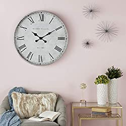 CosmoLiving by Cosmopolitan 22662 Traditional Style Gray, Black & Silver Metal Oversized Wall Clock with Roman Numerals | 28 x 28