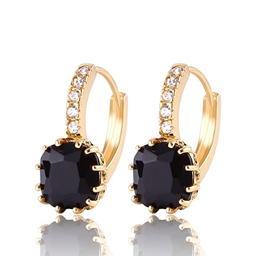 GULICX Gold Tone Black Crystal Dashing Captivating Rhinestone leverback Earring