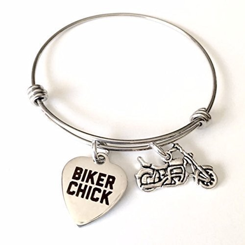 Biker Chick Motorcycle Adjustable Bangle Bracelet for Women (Women Motorcycle For Jewelry)