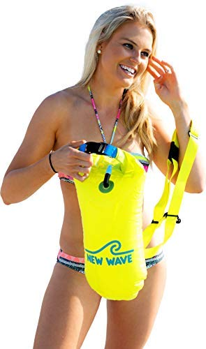- New Wave Swim Buoy for Open Water Swimmers and Triathletes - Light and Visible Float for Safe Training and Racing (Neon Green PVC Medium-15L)