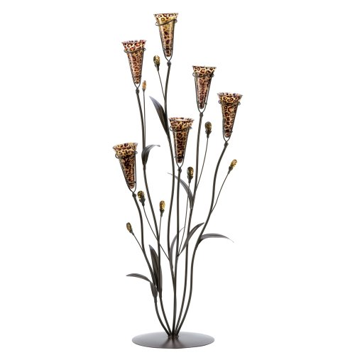 Gifts & Decor Leopard Lily Blossom Tealight Candle Holder Centerpiece]()