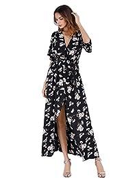 KOERIM Women Boho Floral Maxi Dress Split Beach Flowy Party Dresses with Belt