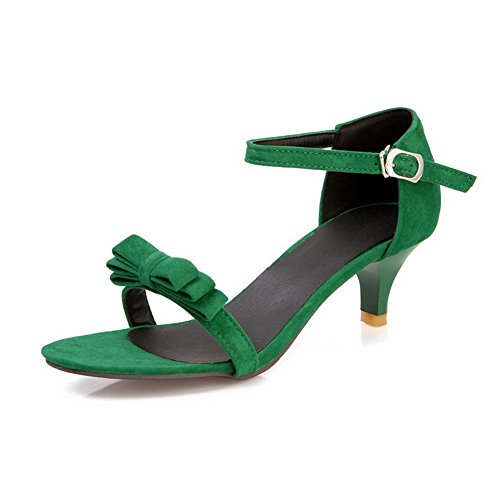 VogueZone009 Womens Open Toe Mid Heel Imitated Suede Frosted Solid Sandals with Bowknot Green 2Evvdyx