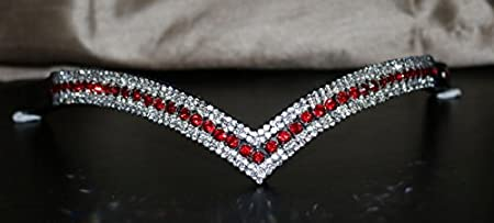 Equipride Beautiful V Shape Bling Crystal Browband Sparkly 5 Row Red/Clear