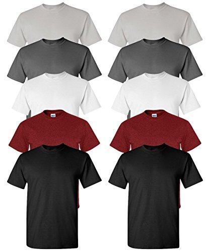Gildan Men's Classic Heavy Cotton Crewneck T-Shirt, Assorted mix, L (Pack of 10)
