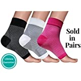 Plantar Fasciitis Compression Socks: 1 Pair. No Logo Foot Sleeves by Footease. Best for Arch Support, Edema, Heel Pain Relief. Great for Travel, Running, Night-time and Everyday Use.