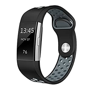 """Swees for Fitbit Charge 2 Bands Sport Silicone, Replacement Breathable Sport Bands Small & Large (5.7"""" - 8.3"""") With Air Holes For Fitbit Charge 2 Women Men, Black, Grey, Yellow, Red, Silver, Pink, White, Teal"""