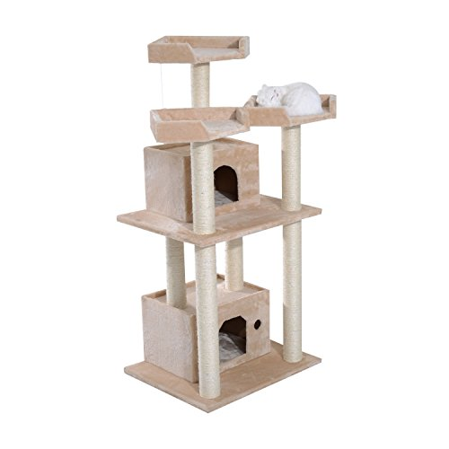 "Pawhut 51"" Cat Tree Tower - Beige"