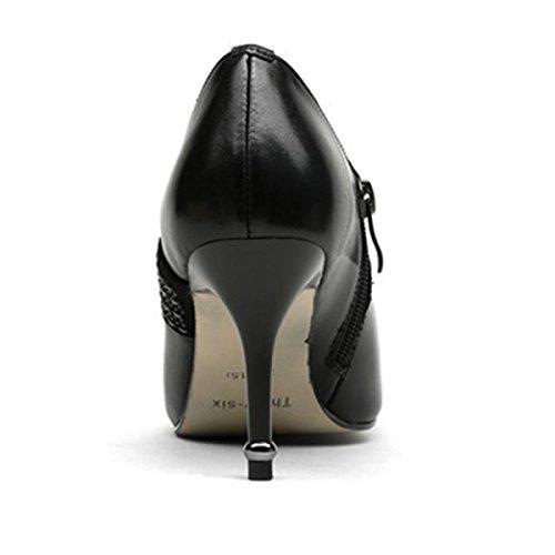 Heels Hochzeit Zehe Frühling Neue Hohen Strass Black Mit Schuhe Frauen Absätzen Plattform Schuhe Leder Geschlossene High PCq1xcwO4
