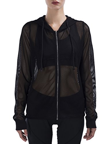 - SPECIALMAGIC Women's Mesh Jacket Long Sleeve Full Hooded Hoodie with Metal Zip Black M