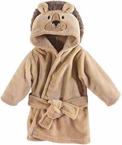 Hudson Baby Unisex Baby Plush Animal Face Robe, Lion, One Size