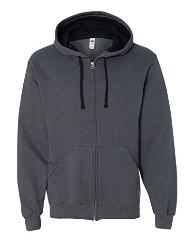 (Fruit Of The Loom SF73R Sofspun Hooded Sweatshirt - Charcoal Heather - XL)