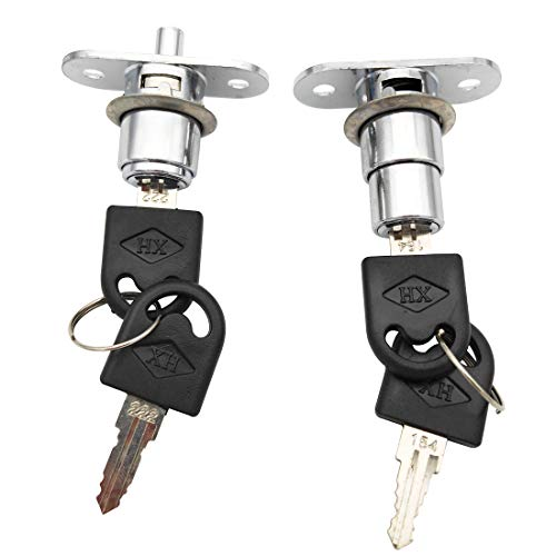 Sipery 2Pcs Push Plunger Lock Drawer Showcase Lock for Sliding Door, Desk Wardrobe Furniture Cabinet Locker Showcase with Keys (Different Lock Different Keys)