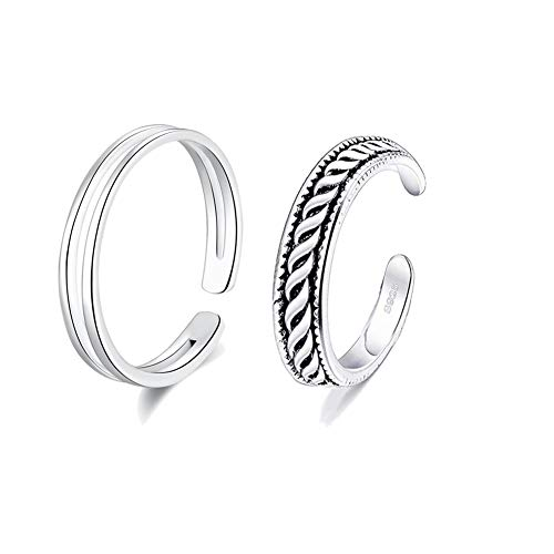 Cladtina 2PCS Sterling Silver Open Adjustable Toe Rings Vintage Braid Rings for Women Girls (line Style)