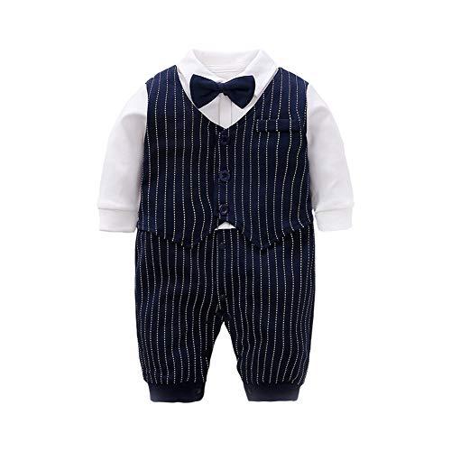 (LAVIQK Newborn Baby Boys Long Sleeve Tuxedo Plaid Gentleman Formal Outfit Suit(Navy Blue))