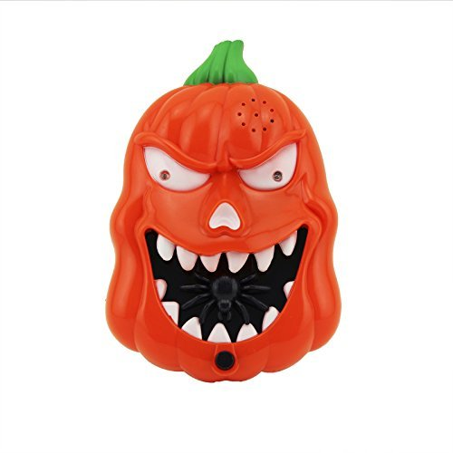 Adorox Happy Halloween LED Flashing Scary Sounds Pumpkin Doorbell Trick or Treat Talking Spider Spooky Jack O Lantern Decoration for $<!--$11.48-->