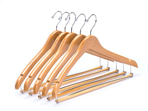 Amber Home Contoured Wooden Hangers Sturdy Wood Suit Coat Clothes Hangers Clothing Hangers with Locking Bar Chrome Hook Pack of 5 - Wood Coat Contoured Hangers
